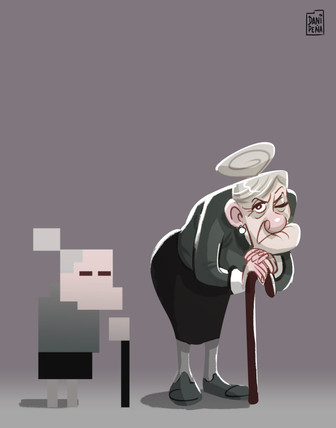 Pixel character old woman