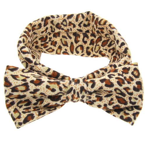 Leopard Print Cotton Bow Turban