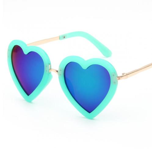 Blue Baby Girls Kids Heart Shaped Summer Spring Fall Sunglasses