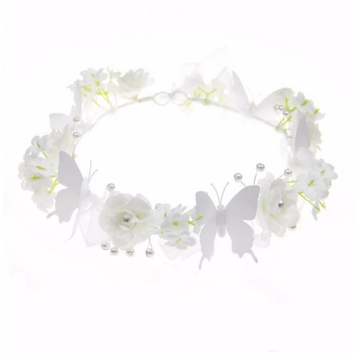 White Butterfly Floral Crown