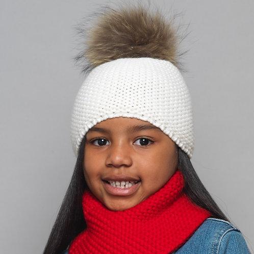 Unisex Knitted Fur Pom Pom Beanie