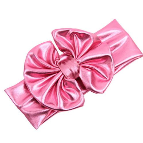 Baby Girls Kids Pink Metallic Bow Turban