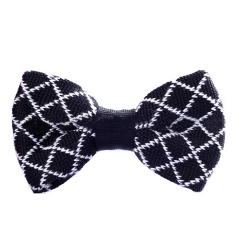 Checker Lines Knitted Bow Tie