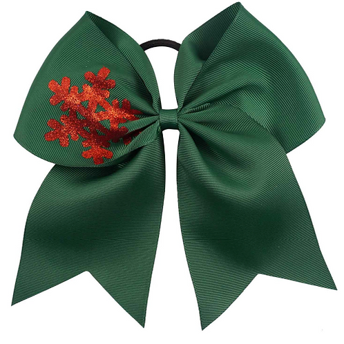"7"" Green Snow Flake Ribbon Hair Tie"