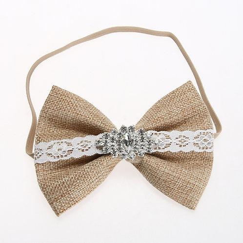 Burlap Rhinestone Embellished Bow Elastic Headband