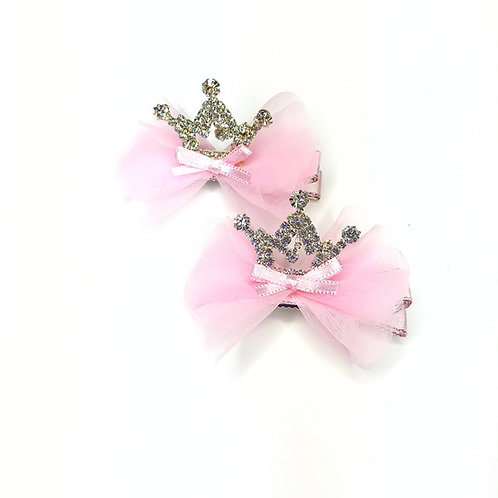 Tulle Crown Hair Clip -Set Of 2