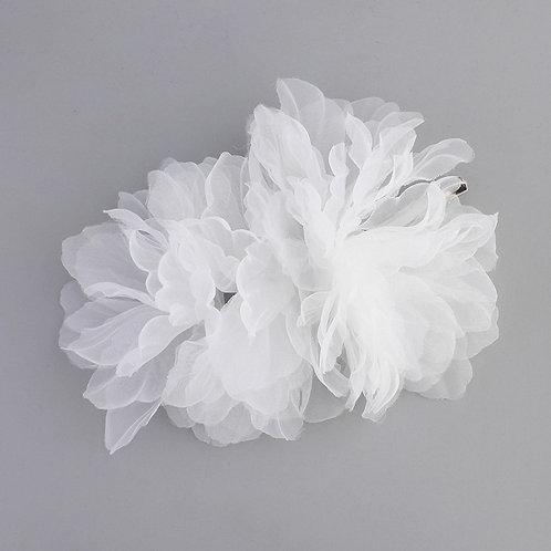 White Floral Chiffon Hair Clip