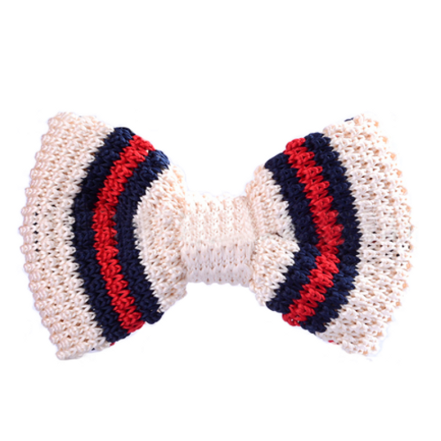 Beige Knitted Bow Tie