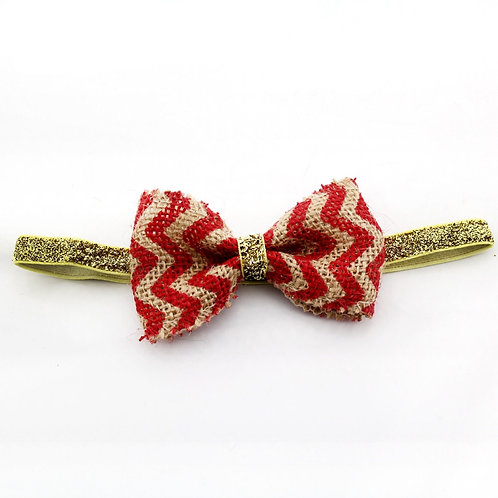 "4"" Chevron Burlap Bow Headband"