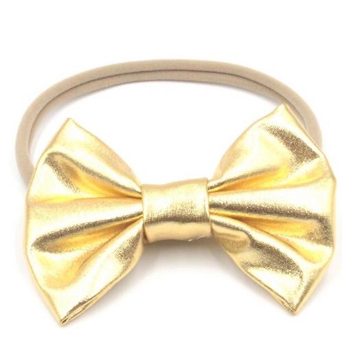 Solid Metallic Bow Nylon Headband