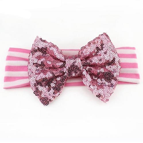 Sequin Bow Cotton Headband