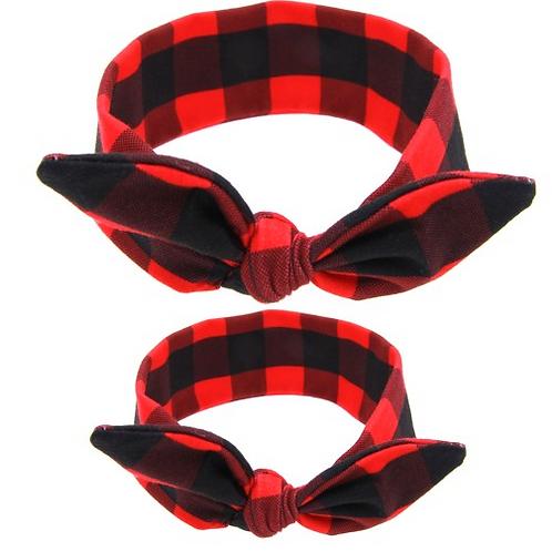 Plaid Mommy & Me Tied Cotton Turban Headband Set