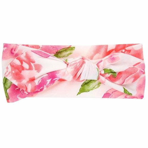 Pink Floral Print Tied Head Wrap