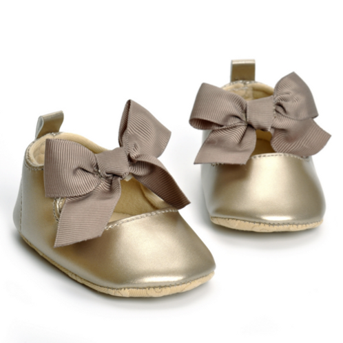 Metallic Bow Baby Shoe