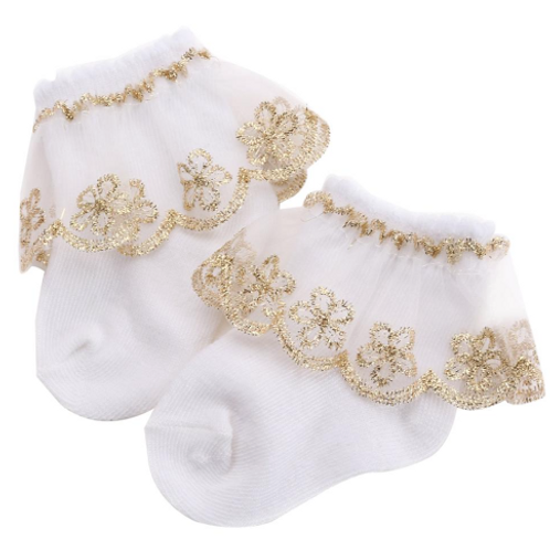 Gold Lace Trim Baby Socks