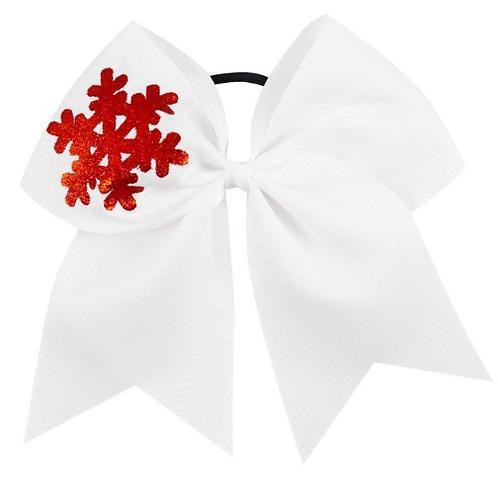"""7"""" White Snow Flake Ribbon Hair Tie"""