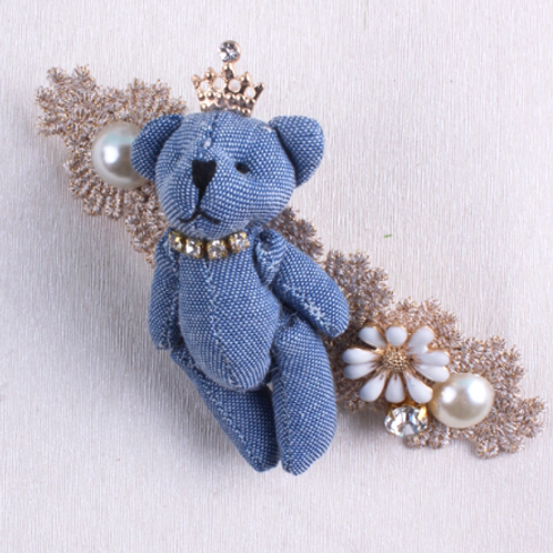 Denim Teddy Bear Embellished Hair Clip
