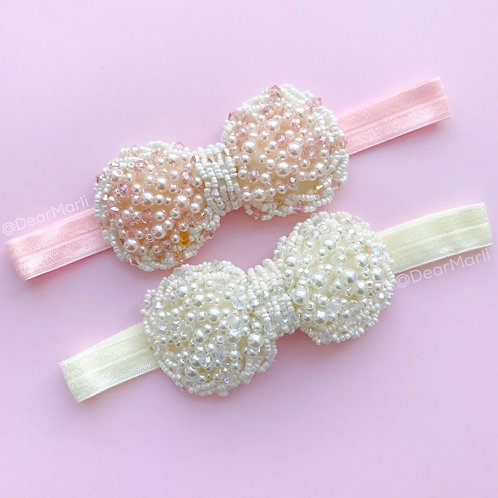 Baby Girls Kids Handmade Luxury Pearl Beaded Bow Elastic Baptism Christening Holy Communion Birthday Headband