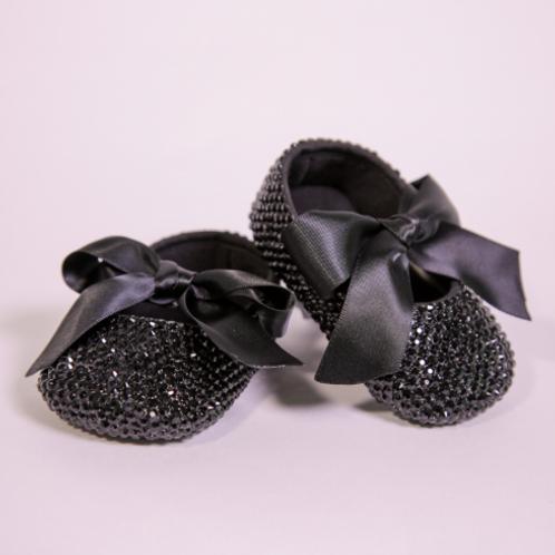 Black Crystal Rhinestone Baby Shoe