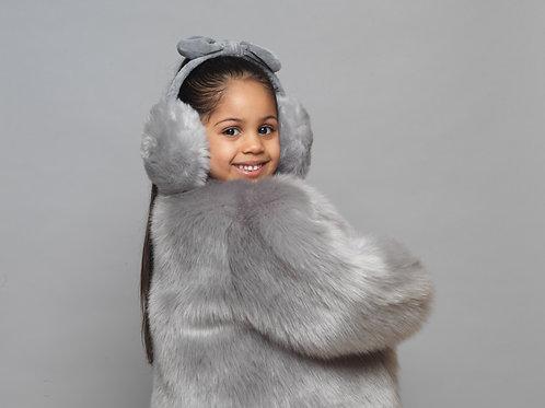 Grey Baby Girls Kids Salmon Fur Winter Spring Fall Birthday Baptism Holy Communion Christening Coat