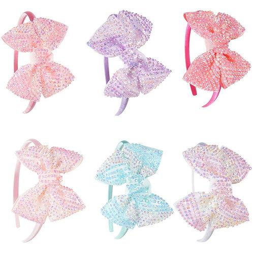 Large Embellished Bow Headband Set of 6