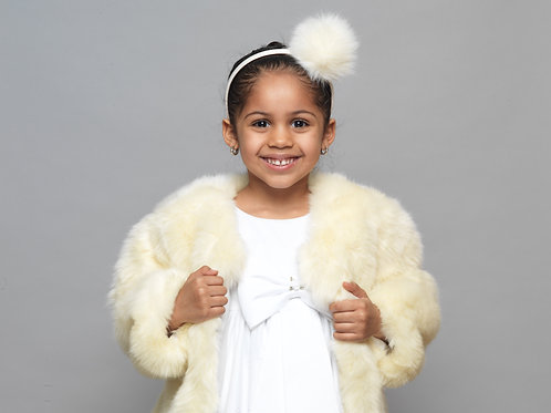 Beige Baby Girls Kids Salmon Fur Winter Spring Fall Birthday Baptism Holy Communion Christening Coat