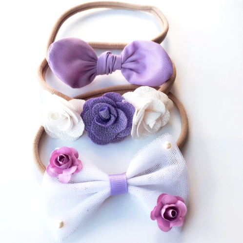 White & Purple  Nylon Headband Set