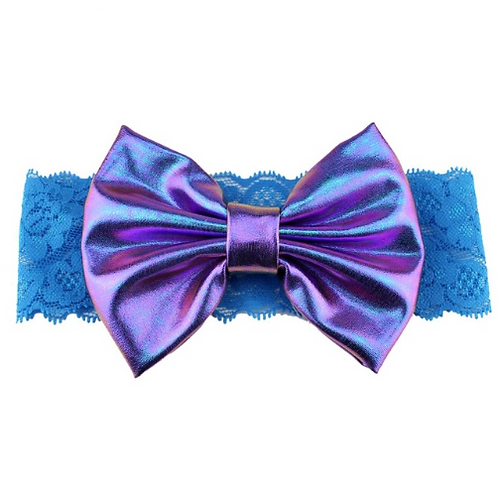 Iridescent Metallic Bow Lace Turban