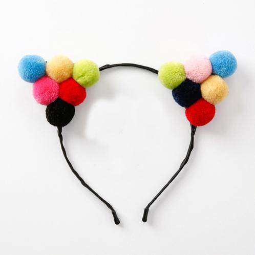 Neon Cat Ear Pom Pom Headband