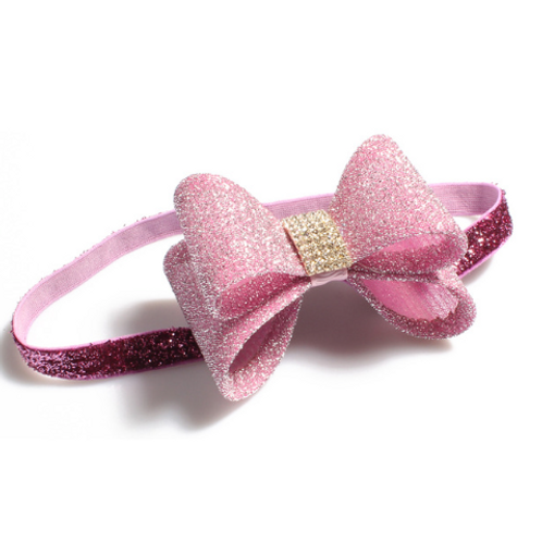 Pink Baby Kids Dust Shimmering Bow Elastic Headband