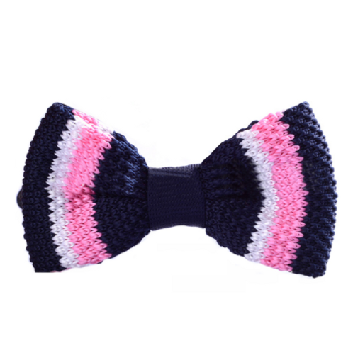 Pink-Navy Knitted Bow Tie