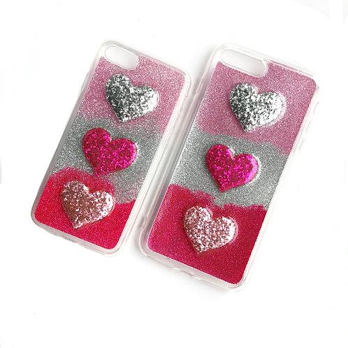 Glitter Hearts Silicone Case