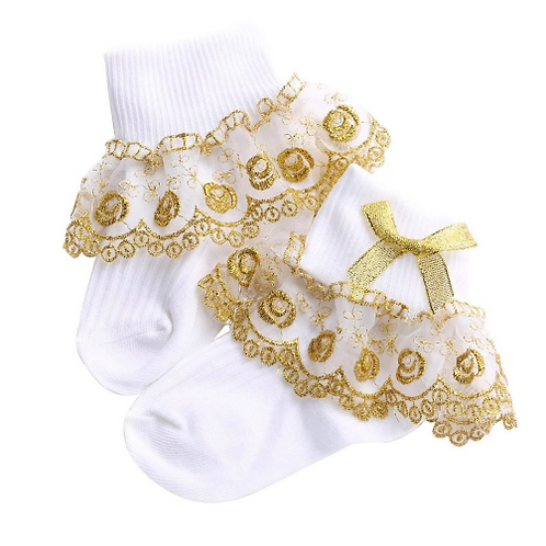Baby Girl Infant Kids Gold Lace Trim Christening Baptism Holy Communion Occasion Ceremony Baby Socks