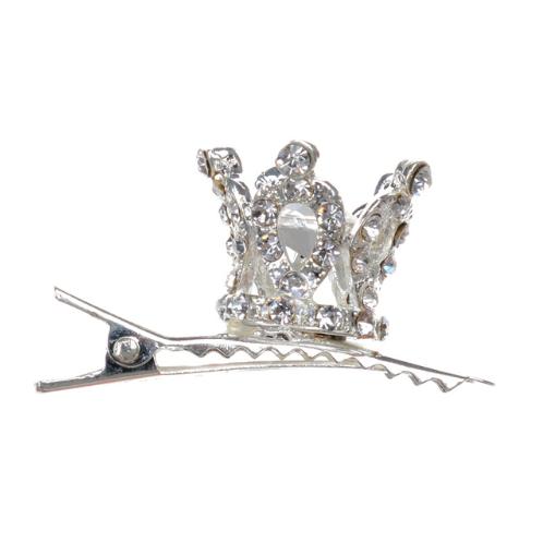 Mini Embellished Crown Hair Clip - Set of 2