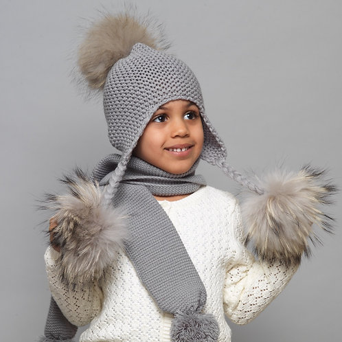 Triple Pom Pom Knitted Fur Hat