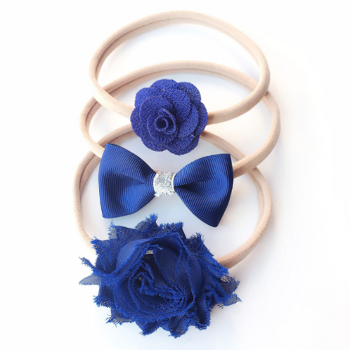 Royal Blue Nylon Headband Set