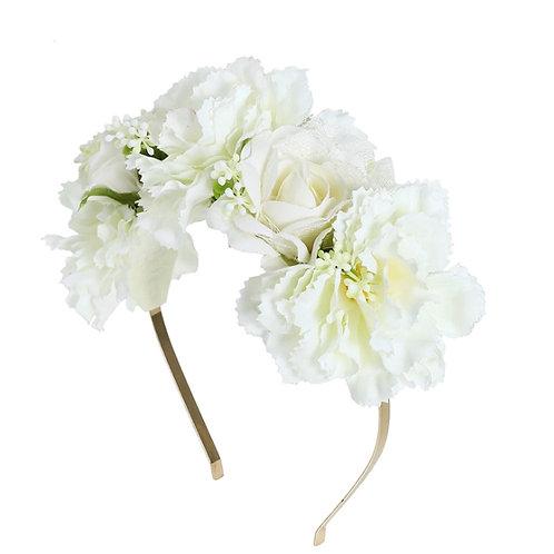 Ivory Floral Crown Headband