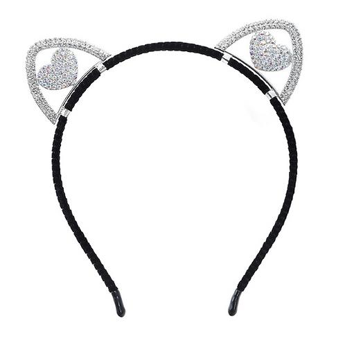 Rhinestone Heart Cat Ear Headband
