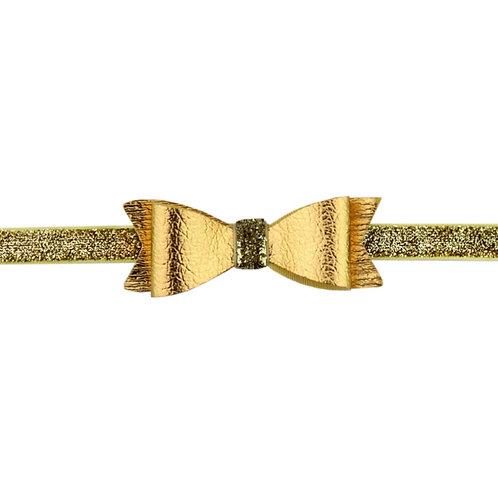 Metallic Leather Bow Headband