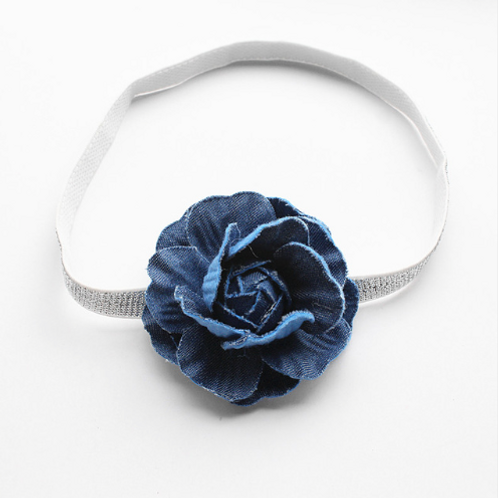 Denim Flower Silver Elastic Headband