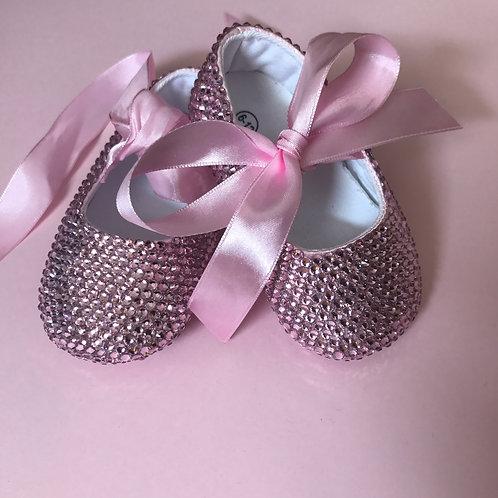 Pink Crystal Rhinestone Baby Shoe