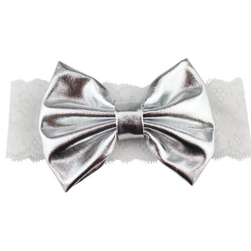 Solid Metallic Bow Lace Turban