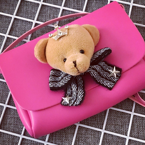 Pink Plush Teddy Bear Crossbody Bag