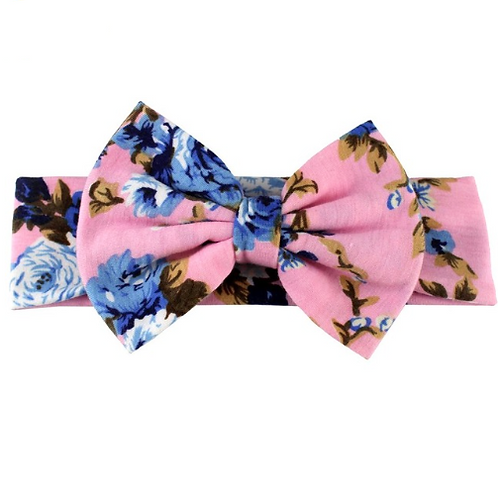 Rose Floral Print Cotton Bow Turban