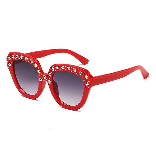 Rhinestone Round Trim Sunglasses