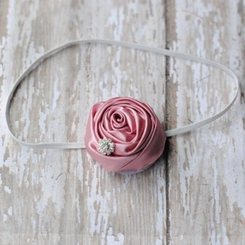 Rose Accented Elastic Headband
