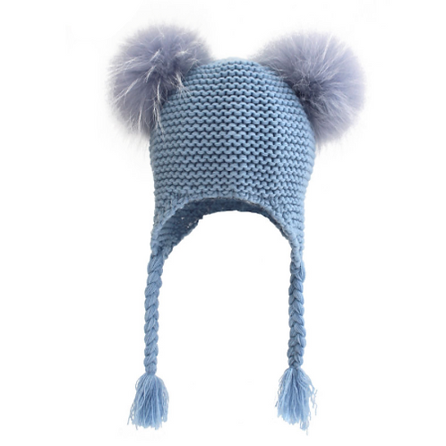 Double Pom Pom Knitted Fur Hat
