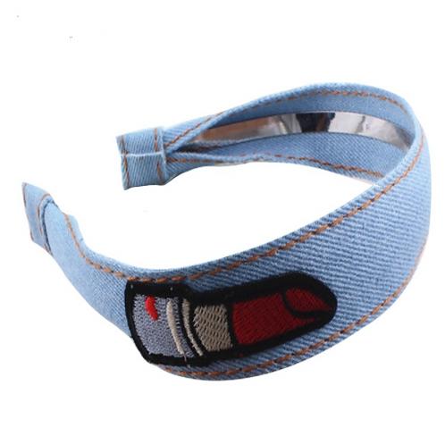 Lipstick Embroidered Denim Headband