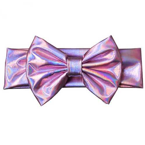Iridescent Metallic Bow Turban