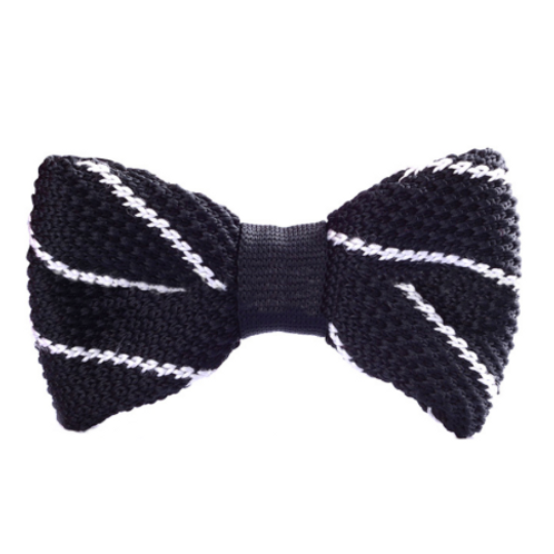 Black Lined Knitted Bow Tie